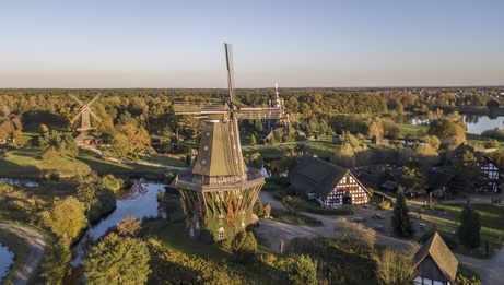 Aerial view of windmills in the openair museum in Gifhorn, Lower Saxony, Germany